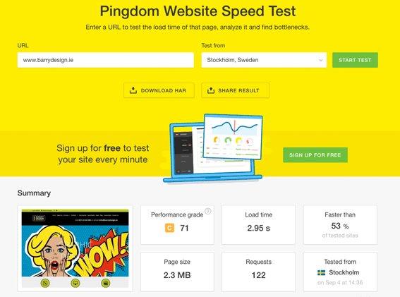 Speed test for website